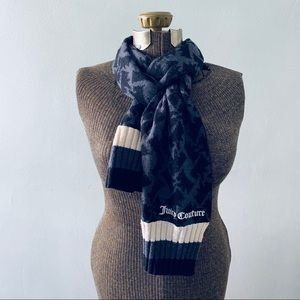Juicy Couture black and grey wool scarf